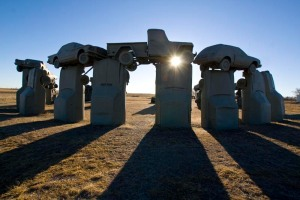 Carhenge, in Nebraska, is built from vintage American cars and trucks.