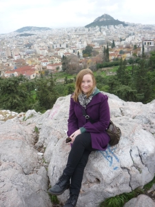 After climbing up to the Acropolis, I rest on a rocky outcrop overlooking the city.