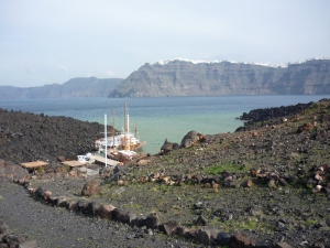 View of Santorini's caldera from Nea Kamena