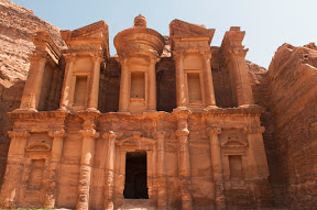 Petra was carved into the red cliffs.