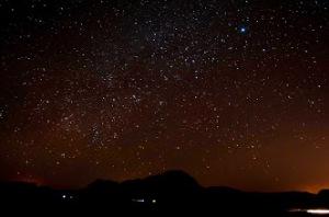 Stars at night over Wadi Rum